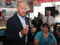 Vice President Joe Biden stopped for ice cream at Widner Drug and Gift in Manchester, Iowa on Tuesday, June 26, 2012. Biden said Tuesday, Mitt Romney was good at creating jobs throughout his career in the private sector   just in countries other than the United States. (AP Photo/The Des Moines Register, Bryon Houlgrave)